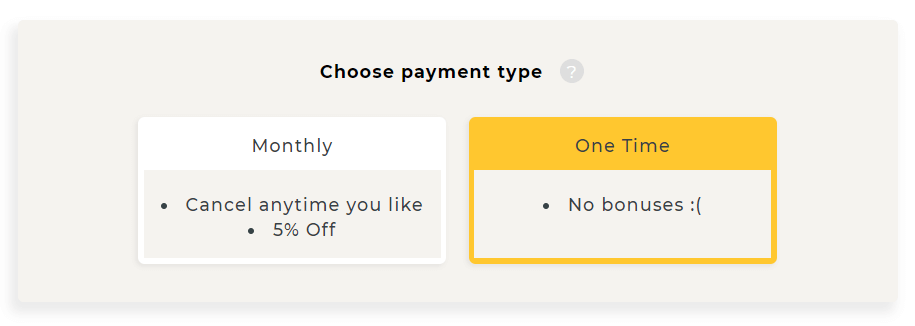 Choose payment type